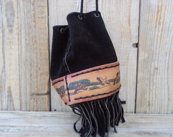 Vintage small Bucket Bag, Leather and Suede Bag, Black Suede, Color print Leather, Bucket Bag with Fringe, Vintage Leather Pouch