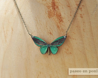 Emerald Green Butterfly Necklace