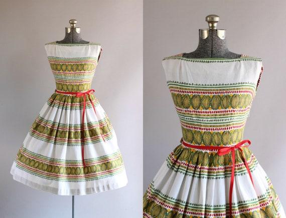 Jahrgang 1950 Kleid / 50er Jahre Baumwolle Kleid / Rot Gelb