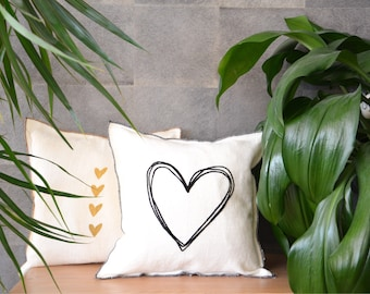 White linen pillow with golden 4 hearts decor. Hand made with love. Linen stylish home decor. Heart cushion cover. White heart linen. Throw