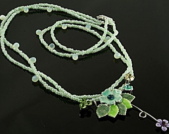 New Lower Price Green Double Strand Necklace with Floral Pendant