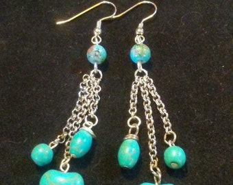 Turquoise ( magnesite) dangle earrings
