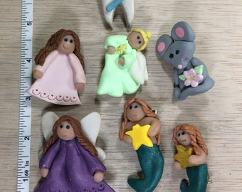 Vintage Lot Of Polymer Clay Pins Brooches Tooth Angel Mermaid Mouse Some Damage Used
