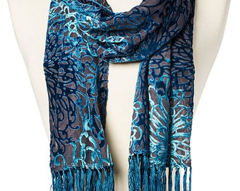 Women's Vintage Swirl Fringe Silk-Blend Scarf