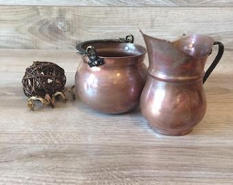 Vintage Copper Creamer and Sugar Bowl - Made in Turkey / Copper Tea Set - Coffee Set / Copper Kitchen, Black Metal Handle / Turkish Coffee