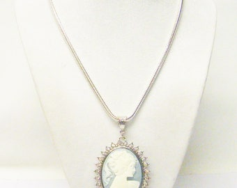 Elegant White Lady Cameo w/Sky Blue Background Necklace/Broach