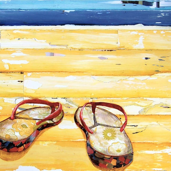BEACH ART PRINT, sandals, flip flops, sea, beach print, beach decor, coastal decor, wall art, beach painting, mixed media, All Sizes