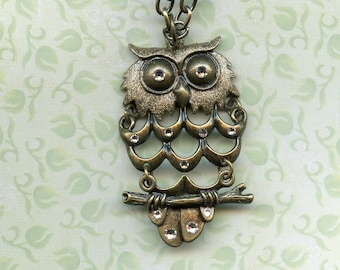 BRONZE OWL ENHANCED with gold metallic paint and Swarovski crystals, jewelry, pendant, bronze large link 20 inch chain,