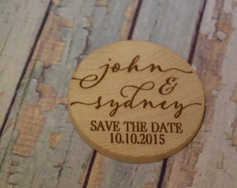Cursive Names Save The Date Personalized Wood  Magnets - Wedding favor and Announcement, Save the Date