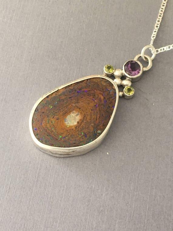 Stunning Australian Boulder Opal with Amethyst and Peridot Pendant