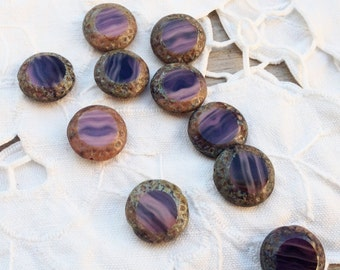 16 mm Czech Picasso Artisan Flat Round Purple and Dusty Rose Tablecut Sun Bead  - 10 Pieces