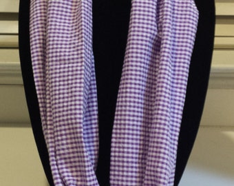 Purple and White Gingham Infinity Scarf