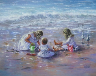 Three Beach Girls Art Print, beach children, three sisters, three blonde girls beach wall decor, Vickie Wade art