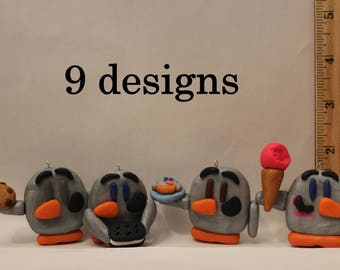 Ornament= Penguins with Food -Polymer Clay-