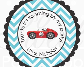 Party Favor Stickers - Chevron, Race Car Birthday - Boys Birthday Party Decorations - Personalized Birthday Stickers - Set of 24