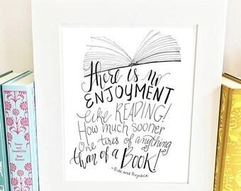 ON SALE Jane Austen Quote Print - Pride and Prejudice - Quote Print -handlettered -QPP