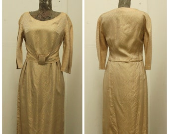 "CHIC 1950's ""Elegant of Berlin"" Gold Satin Brocade Dress - Mad Men - vlv  - Size M"
