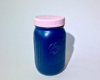 Oxford Blue Quart Mason Jar | 32 oz | Light Pink Wide Mouth Plastic Jar Lid | Rustic Mason Jar Decor / Farmhouse Kitchen Storage | Ball Jar