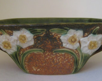 Antique Roseville pottery jonquil bowl, 1930's, Antique pottery, Arts and Crafts era Roseville pottery, Art pottery, Rustic home decor