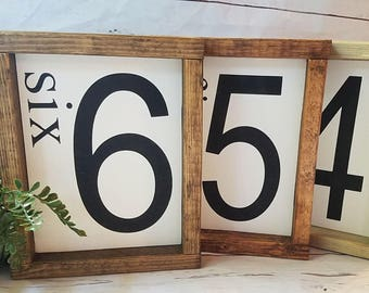 Family number sign-three 3-four 4-five 5-six 6-wall art-framed wooden sign-gallery wall-home decor-flash card sign-rustic home decor