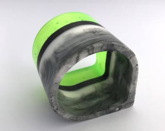 Tear shaped lime, grey and marble effect resin bangle - wide