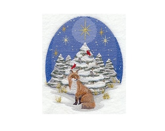 Nature's Christmas Fox - I Will Machine Embroider This Design On To Your Custom Item