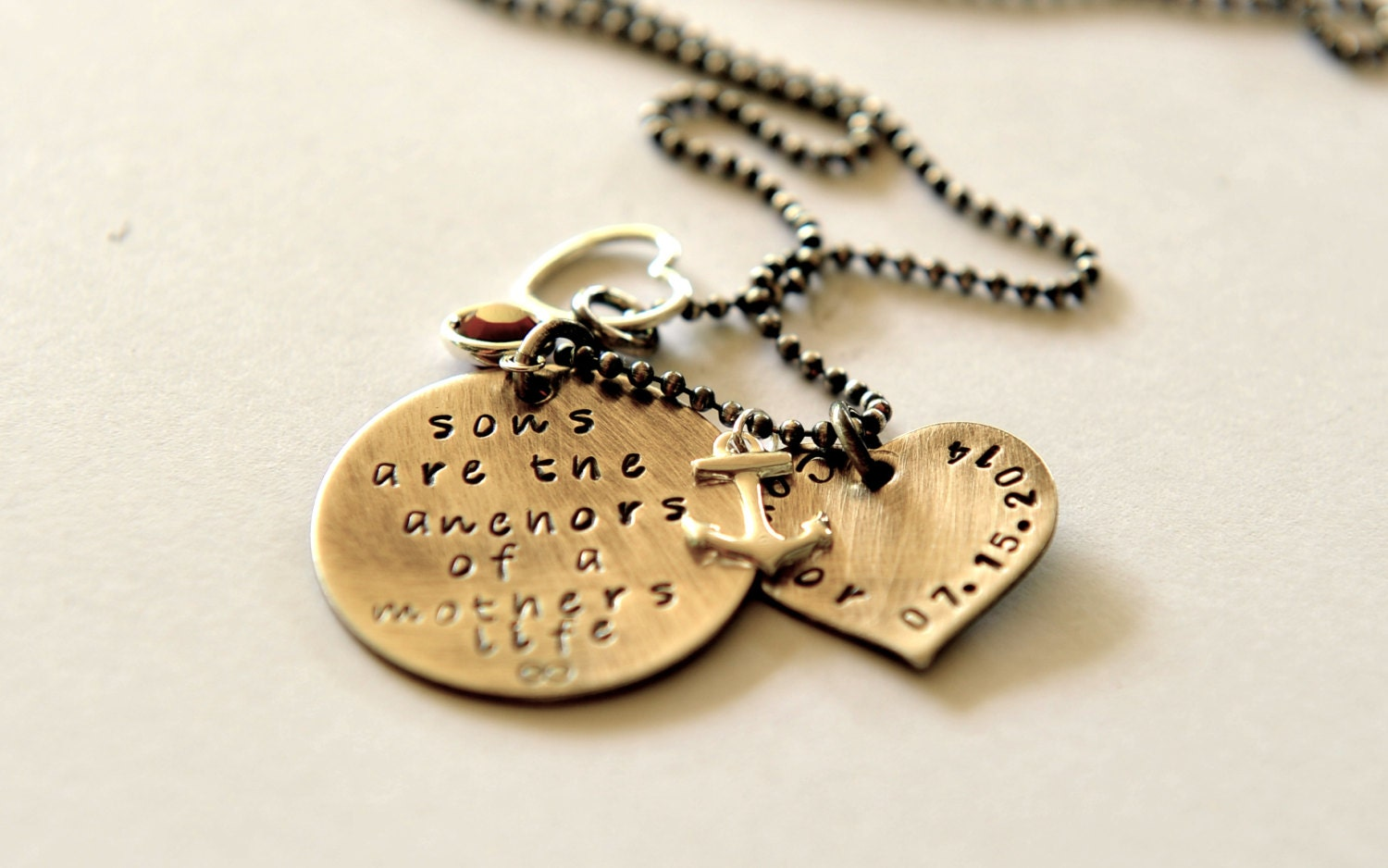 Hand Stamped Jewelry Mother Son Quote Necklace Personalized