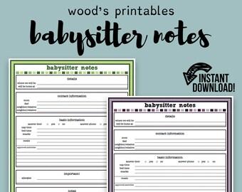 Babysitter Notes PDF Printable; Babysitter Note, Babysitter Log, Planner Printable, Babysitter Printable, Babysitter Info, Household Binder
