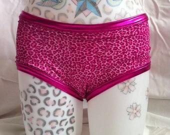 Pink Leopard Print Roller Derby Pole Dance Rave wear Hot pants