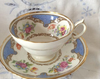 Hammersley blue floral teacup and saucer