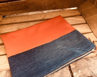 One of a kind: leather and DENIM - HARITI canvas pouch