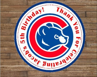 Personalized Baseball Stickers  Baseball Team Favor Tags    Baseball  Birthday   Chicago Cubs
