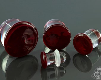 "SF Plum Red Colorfront glass plugs:  14g, 12g, 10g, 8g, 6g, 4g, 2g, 0g, 00g (10mm), 7/16"" (11mm), 12mm, 9/16"" (14mm), 5/8"" (16mm)"