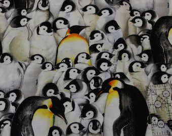 "Shamash and Sons Penguins   100% cotton fabric 42"" - 44"" wide  Rare!"