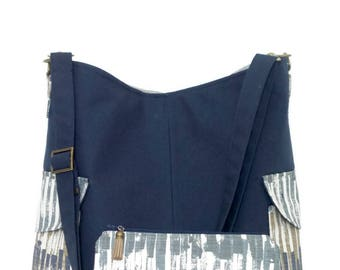 Cross body Tote Bag and matching zipper pouch / Cross body Bag / Shoulder Bag / Tote Bag/ Handbag / Purse / Tote/ Canvas tote Bag/ Navy blue