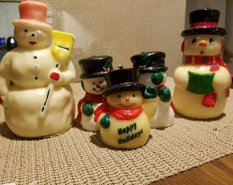 Vintage decorative holiday snowman candles