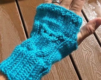 Fingerless Owl Mitts, Adult Fingerless Mitts, Owl Fingerless Gloves, Owl Arm Cuff, Blue Mint Arm Warmers, Adult Owl Cuffs, Owl Hand Warmers