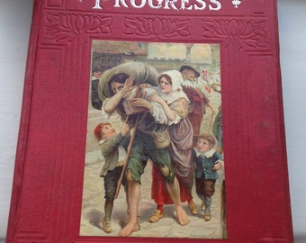 The Pilgrim's Progress - Easter gift - Vintage John Bunyan - Ambrose Dudley - Antique Religious book - vintage pilgrim's progress