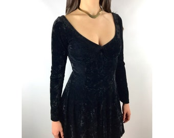 80's black velour scoop neck and back mini dress