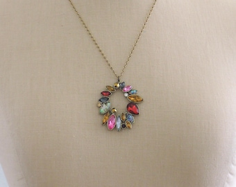 Vintage Inspired Necklace - Rhinestone Necklace - Colorful Necklace - Pendant Necklace - Vintage Brass Necklace - handmade jewelry