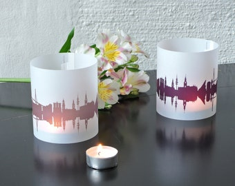 Light Covers HAMBURG Skyline City Light Luminary, 2 HAMBURG Tablelight Shade fume plum, Gift HAMBURG Lovers, Wedding Decor Candle Light
