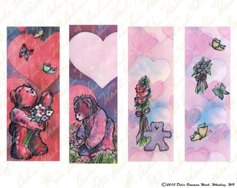 Valentine's Day Bookmarks - Digital Collage Sheet - Instant Download - Printable Files - Crafting - Hearts, Flowers, Teddy Bears
