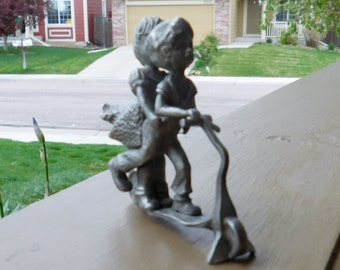 Pewter Figurine - Girl and Boy on Scooter - Signed - Dated - BDA Pewter 1975 - SALE 40% OFF