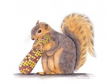 Whimsical Squirrel with corn, print of original art,whimsical,nursery art, artwork,animal,pen and ink, watercolor,wildlife,squirrel, nature,