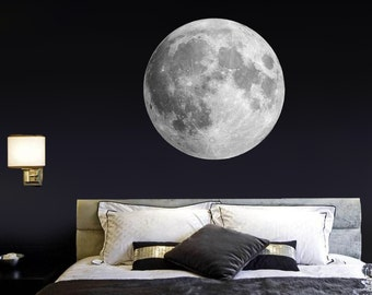 Moon wall decal Bedroom wall sticker Realistic moon Living room decor Removable decals