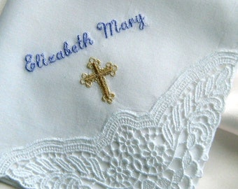 SMALL CROSS HANDKERCHIEF for Baby Girl, Baptism, Christening, Communion, Personalized, Cotton, From Germany, Gift Box, Lace Corner 11x11