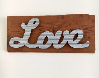 Reclaimed Wood Love Sign
