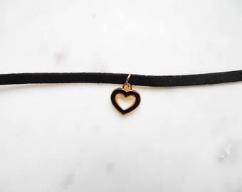 Black choker, Gift for her, cute choker, heart choker, boho necklace, boho jewelry, hear necklace, chokers, cord choker