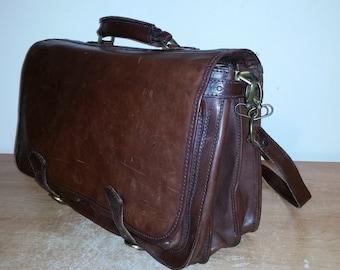 Vintage Neat Cognac Brown FIRENZE Italian Calfskin Leather Briefcase Attache Messenger Bag