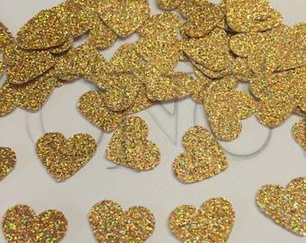 Confettis coeur irisé or, décorations de fête or, décor de table or wedfing, or anniversaire, brillant confettis, confettis coeur, papier